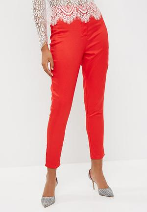 Missguided Crepe Tailored Cigarette Pants Trousers Red