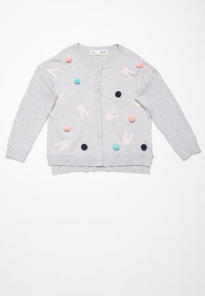 Cotton On Kids Emma Cardigan Jackets & Knitwear Grey