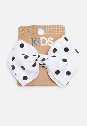 Cotton On Kids Big Bow Clips Accessories White & Navy