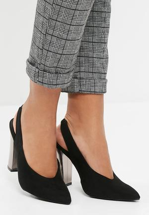 Missguided Pointed Slingback Court Heels Black