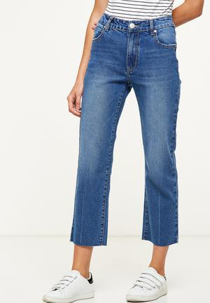 Cotton On Mid Rise Straight Crop Stretch Jean Blue