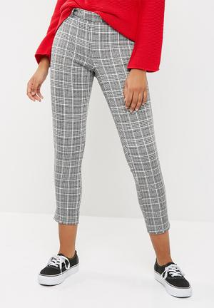 Dailyfriday High Waisted Check Pants Trousers Grey, Black, White