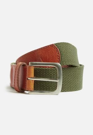Basicthread Leather And Webbing Belt Khaki & Tan