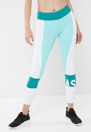 Asics Colour Block Tights Bottoms Blue & White