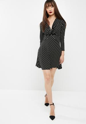 New Look Stripe Twist Front Mini Dress Formal Black & White