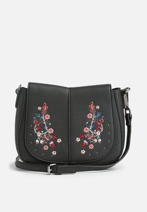 New Look Folk Embroidered Xbody Bags & Purses Black