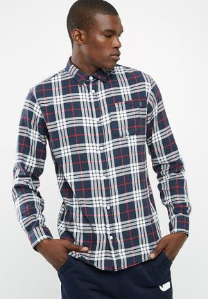 Jack & Jones Fresh Loose Fit Shirt Navy, White & Red