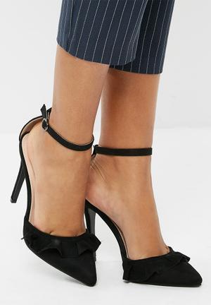 Public Desire Habit Frill Pointy Toe Heel Black