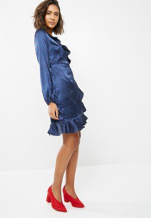Vero Moda Henna Satin Wrap Dress Formal 100% Polyester