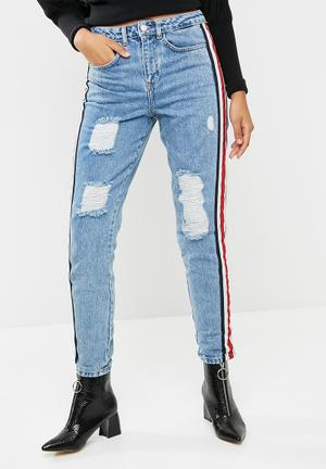 Missguided Red Side Stripe Boyfriend Jeans 100% Cotton