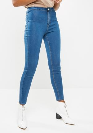 Missguided Vice High Waisted Stone Wash Jeans Blue