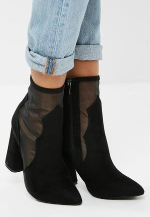 Public Desire Dallas Mesh Ankle Boot Black