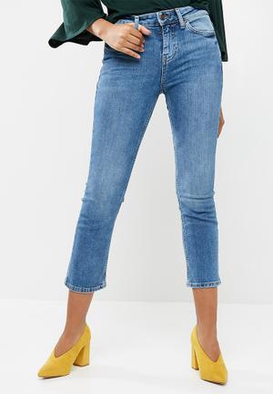 New Look Crop Kick Flare Mason Jeans Blue