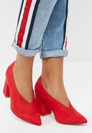 Public Desire Spy Pointy Block Heel Red