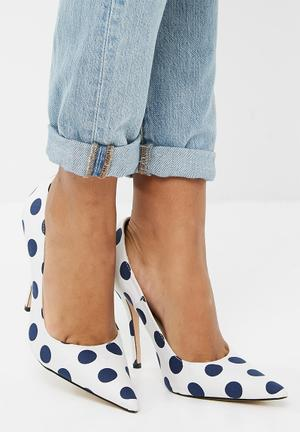 Public Desire Tease Stiletto Court Heel White & Blue