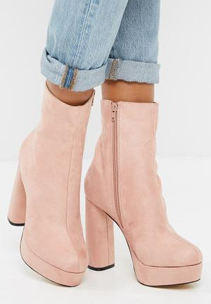 Public Desire Loud Platform Ankle Boot Dusty Pink