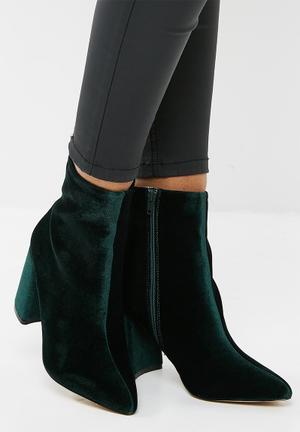 Public Desire Alpha Mid Heel Ankle Boot Dark Green