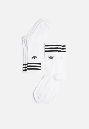 Adidas Originals Solid Crew 3 Pack - White/Black Socks White & Black