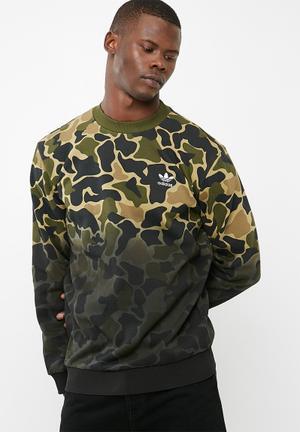 Adidas Originals Camo Crew Hoodies, Sweats & Jackets Green , Khaki, Tan, Black, Brown