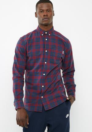 Jack & Jones Silver Loose Fit Shirt Red & Navy