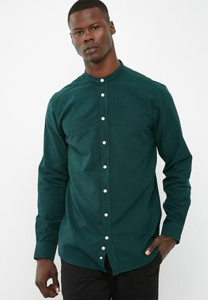 Basicthread Regular Oxford Mandarin Shirt  Bottel Green