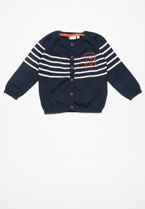 Name It Giste Knit Cardigan Jackets & Knitwear Navy, White & Orange