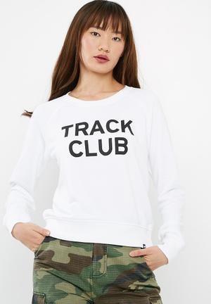 New Balance  Essentials Track Club Crew Sweat White & Black
