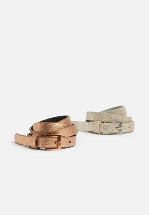 Dailyfriday 2 Pack Skinny Belts 100% Leather