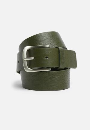 Basicthread Leather Belt Olive
