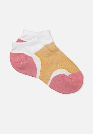 Cotton On Active Panel Sock Pink, White, Caramel