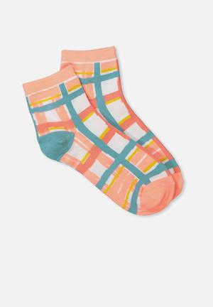 Cotton On Fun Sock Pink, Blue, White