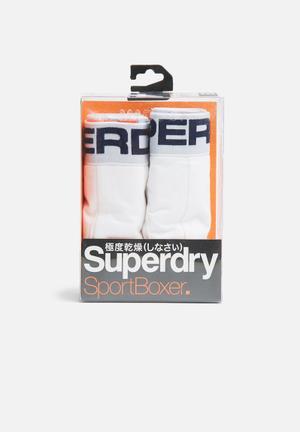 Superdry. 2 Pack Sport Boxer Underwear White