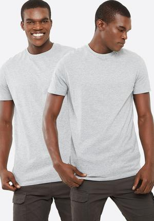 Basicthread Basic Crew Neck Tee 2 Pack T-Shirts & Vests Grey