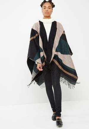 Vero Moda Ann Poncho Fashion Accessories Black, Taupe, Green & Pink