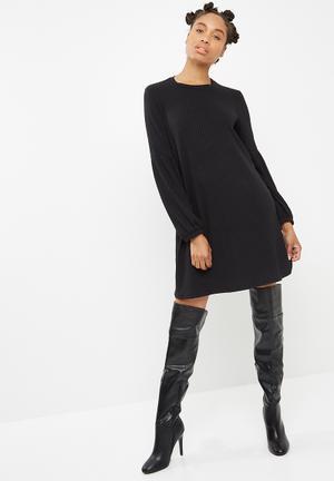 Dailyfriday Longsleeve Rib Swing Dress Casual Black