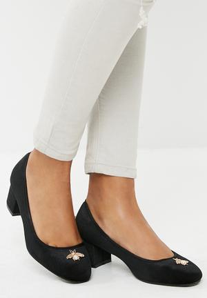 Dailyfriday Velvet Block Heel - Black Black