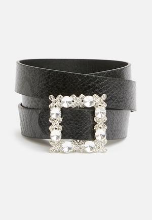 Missguided Diamante Square Buckle Belt Black