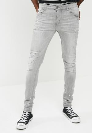 Sergeant Pepper Rip And Repair Feather Slim Fit Jeans Washed Grey