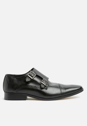 Basicthread Bradley Leather Double Monk Strap Formal Shoes Black