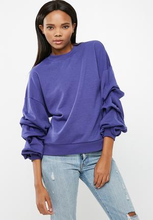Vero Moda Land Puff Sleeve Top Knitwear Blue