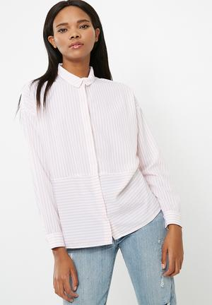 ONLY Elena Striped Oversized Shirt Pink & White