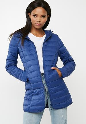 ONLY Tahoe Hooded Puffer Jacket Blue