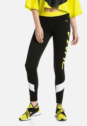 PUMA Xtreme Leggings Bottoms Black & Neon Yellow
