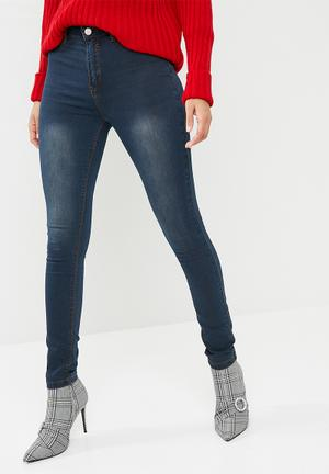 Missguided Lawless High Waisted Super Stretch Skinny Jeans Blue