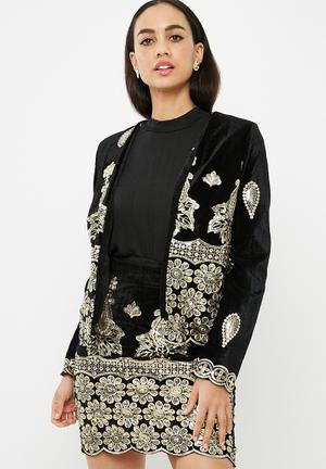Missguided Sequin Embellished Velvet Collarless Jacket Black & Gold