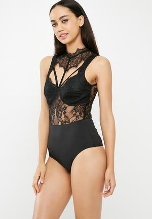 0a4310fd67abf Sheer lace high neck bodysuit - black