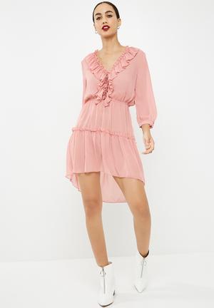 279bccc049b Chiffon frill detail long sleeve dress - pink