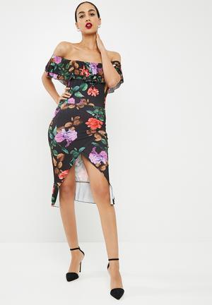 fd3dfe051a0 Floral print frill detail bardot midi dress - black