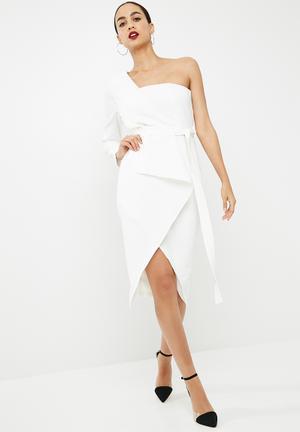 Missguided One Shoulder Crepe Tie Waist Split Hem Midi Dress Occasion White
