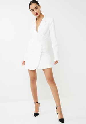 Pleated detail blazer dress